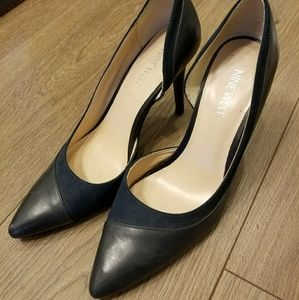 Nine West navy blue suede/leather heels
